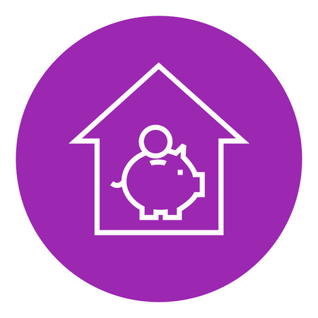 House savings thick line icon with pointed corners and edges for web, mobile and infographics. Vector isolated icon. Illusztráció