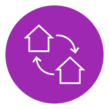 house exchange: House exchange thick line icon with pointed corners and edges for web, mobile and infographics. Vector isolated icon.