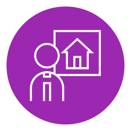 possession: Real estate agent thick line icon with pointed corners and edges for web, mobile and infographics. Vector isolated icon. Illustration