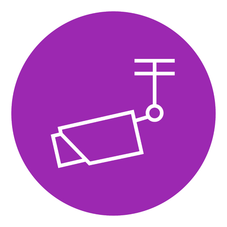 Outdoor surveillance camera thick line icon with pointed corners and edges for web, mobile and infographics. Vector isolated icon.