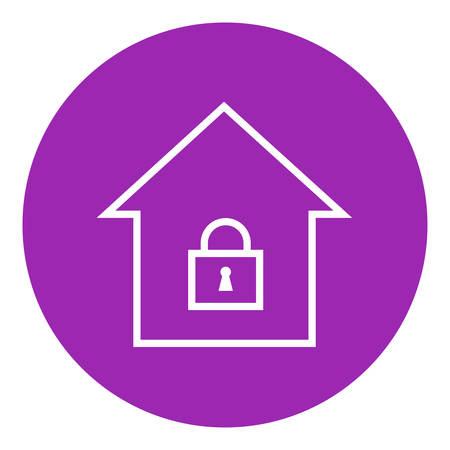 private access: House with a closed lock thick line icon with pointed corners and edges for web, mobile and infographics. Vector isolated icon.