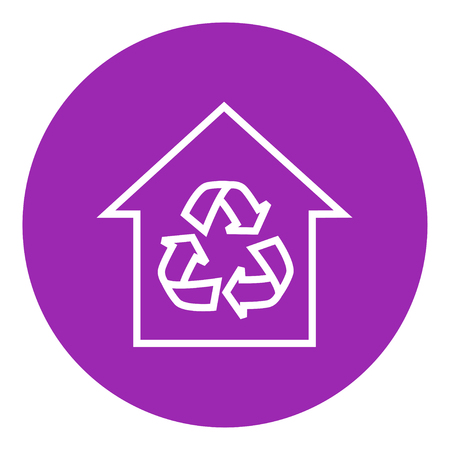 House with recycling symbol thick line icon with pointed corners and edges for web, mobile and infographics. Vector isolated icon.