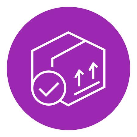 Caja de envase de cartón con dos flechas hacia arriba icono línea gruesa con esquinas puntiagudas y bordes para web, móvil y la infografía. aislado vector icono. Foto de archivo - 55255944