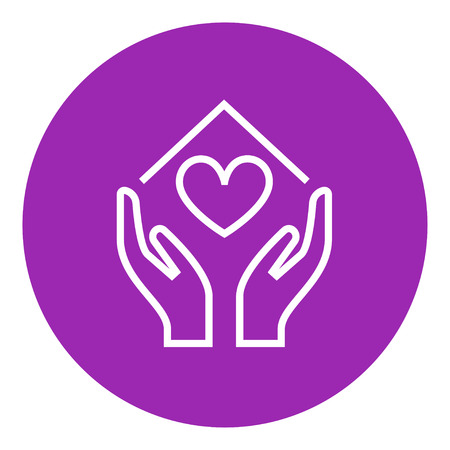 hands holding house: Hands holding house symbol with heart shape thick line icon with pointed corners and edges for web, mobile and infographics. Vector isolated icon.