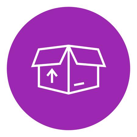 Caja abierta paquete de cartón con la flecha hacia arriba icono de línea gruesa con esquinas puntiagudas y bordes para web, móvil y la infografía. aislado vector icono. Foto de archivo - 55255981