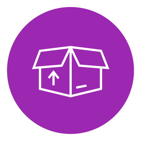 Open carton package box with arrow up thick line icon with pointed corners and edges for web, mobile and infographics. Vector isolated icon.