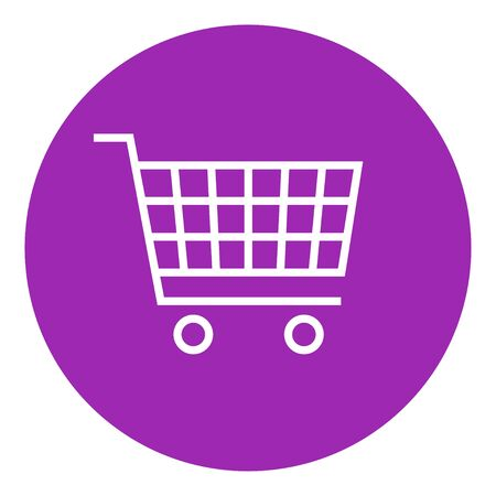 Shopping cart thick line icon with pointed corners and edges for web, mobile and infographics. Vector isolated icon.