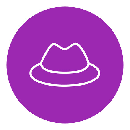 rimmed: Classic hat thick line icon with pointed corners and edges for web, mobile and infographics. Vector isolated icon. Illustration