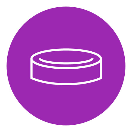 puck: Hockey puck thick line icon with pointed corners and edges for web, mobile and infographics. Vector isolated icon.