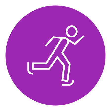 ice slide: Speed skating thick line icon with pointed corners and edges for web, mobile and infographics. Vector isolated icon.