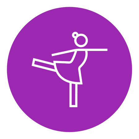 Female figure skater thick line icon with pointed corners and edges for web, mobile and infographics. Vector isolated icon.