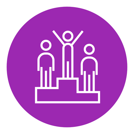 Winners standing on the podium thick line icon with pointed corners and edges for web, mobile and infographics. Vector isolated icon.