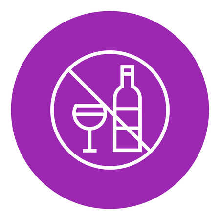spirituous beverages: No alcohol sign thick line icon with pointed corners and edges for web, mobile and infographics. Vector isolated icon.
