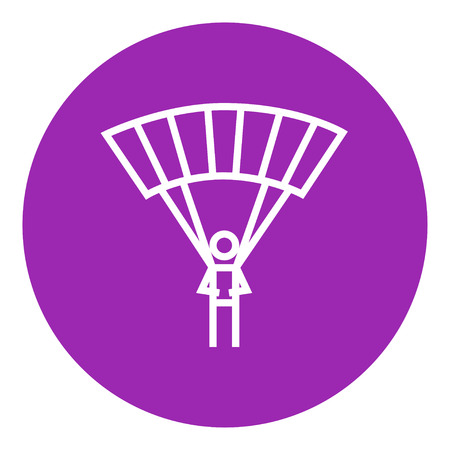 Skydiving thick line icon with pointed corners and edges for web, mobile and infographics. Vector isolated icon.