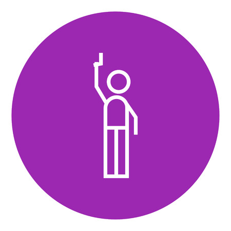 Man giving a signal with a starting gun thick line icon with pointed corners and edges for web, mobile and infographics. Vector isolated icon.