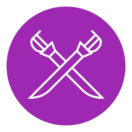 Crossed saber thick line icon with pointed corners and edges for web, mobile and infographics. Vector isolated icon. Ilustração