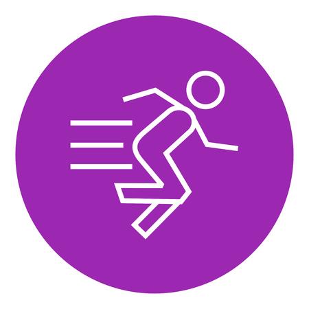 Courir l'homme icône de ligne épaisse avec des coins et des bords pointus pour le web, mobile et infographie. Icône isolé de vecteur.