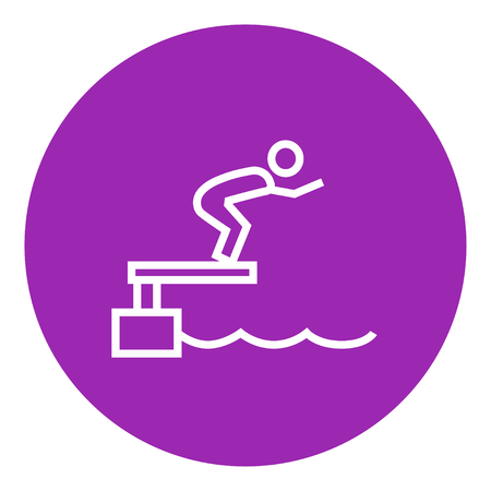 race winner: Swimmer jumping from starting block in pool thick line icon with pointed corners and edges for web, mobile and infographics. Vector isolated icon.