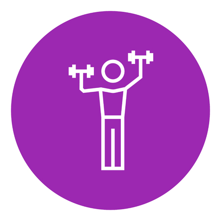 Man exercising with dumbbells thick line icon with pointed corners and edges for web, mobile and infographics. Vector isolated icon. Ilustrace