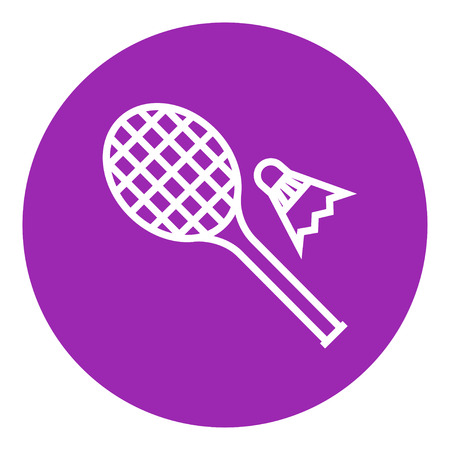 badminton racket: Shuttlecock and badminton racket thick line icon with pointed corners and edges for web, mobile and infographics. Vector isolated icon. Illustration