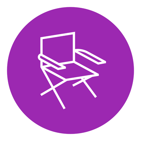Folding chair thick line icon with pointed corners and edges for web, mobile and infographics. Vector isolated icon.