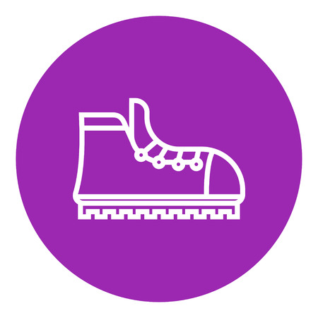 Hiking boot with crampons thick line icon with pointed corners and edges for web, mobile and infographics. Vector isolated icon.