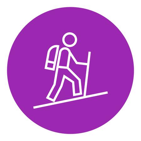 backpacker touristique icône de la ligne épaisse avec des coins pointus et des bords pour le web, le mobile et infographies. Vector icône isolé.