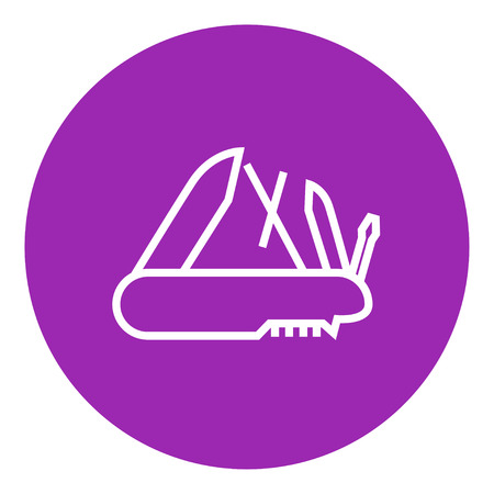 multifunction: Multipurpose knife thick line icon with pointed corners and edges for web, mobile and infographics. Vector isolated icon.