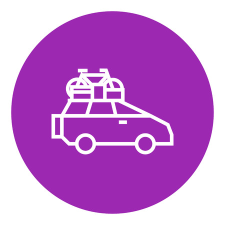 roof line: Car with bicycle mounted to the roof thick line icon with pointed corners and edges for web, mobile and infographics. Vector isolated icon. Illustration