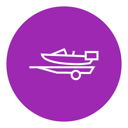 Boat on a trailer for transportation thick line icon with pointed corners and edges for web, mobile and infographics. Vector isolated icon.