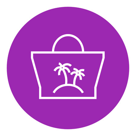 Beach bag thick line icon with pointed corners and edges for web, mobile and infographics. Vector isolated icon.
