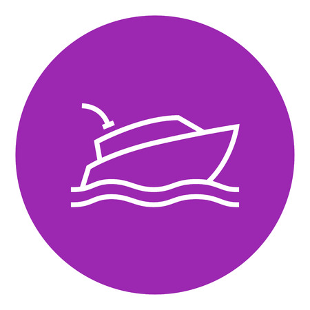hull: Yacht thick line icon with pointed corners and edges for web, mobile and infographics. Vector isolated icon.