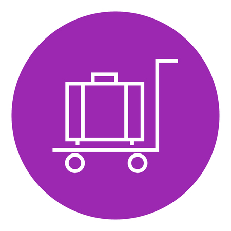 trolley case: Luggage on a trolley thick line icon with pointed corners and edges for web, mobile and infographics. Vector isolated icon.