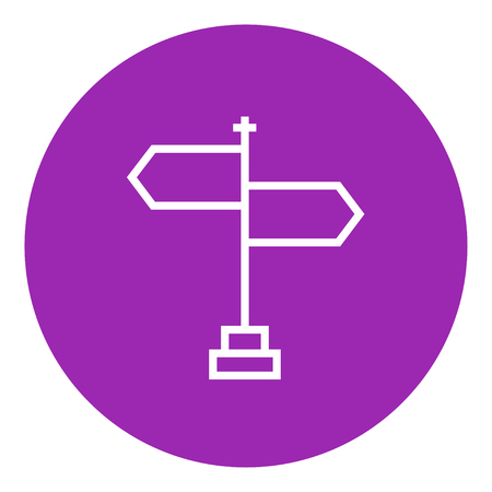 multidirectional: Travel traffic sign thick line icon with pointed corners and edges for web, mobile and infographics. Vector isolated icon. Illustration
