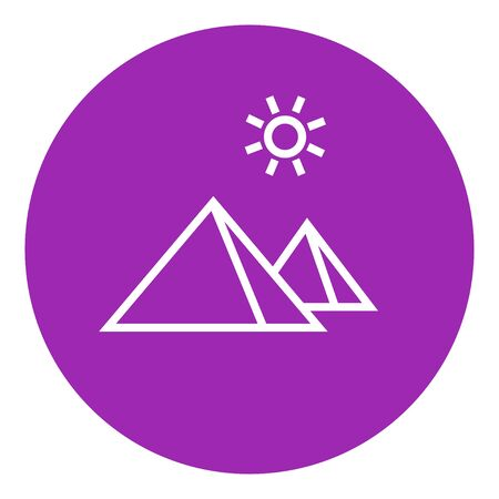 Egyptian pyramids thick line icon with pointed corners and edges for web, mobile and infographics. Vector isolated icon. Illustration