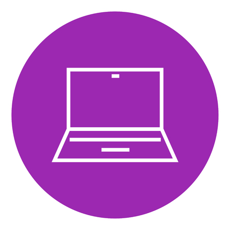 lcd display: Laptop thick line icon with pointed corners and edges for web, mobile and infographics. Vector isolated icon.