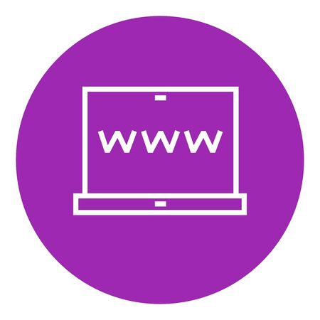 laptop screen: Website on the laptop screen thick line icon with pointed corners and edges for web, mobile and infographics. Vector isolated icon.