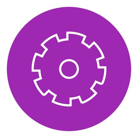 gearwheel: Gear thick line icon with pointed corners and edges for web, mobile and infographics. Vector isolated icon.