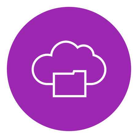 data synchronization: Cloud folder files thick line icon with pointed corners and edges for web, mobile and infographics. Vector isolated icon.