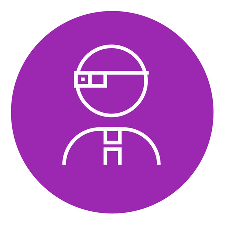 Man in augmented reality glasses thick line icon with pointed corners and edges for web, mobile and infographics. Vector isolated icon.