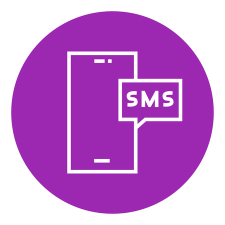recieve: Smartphone with message thick line icon with pointed corners and edges for web, mobile and infographics. Vector isolated icon.
