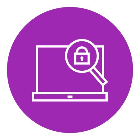 Laptop and magnifying glass thick line icon with pointed corners and edges for web, mobile and infographics. Vector isolated icon. 向量圖像