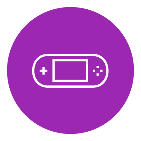 Game console gadget thick line icon with pointed corners and edges for web, mobile and infographics. Vector isolated icon.