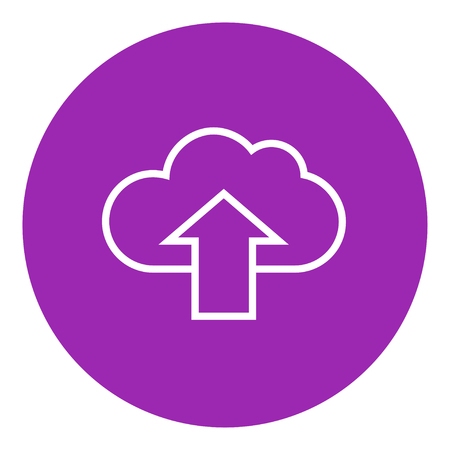 media network: Cloud with arrow up thick line icon with pointed corners and edges for web, mobile and infographics. Vector isolated icon. Illustration