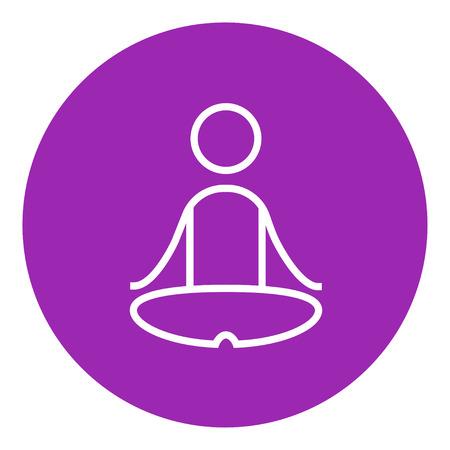 elasticidad: Un hombre meditando en posici�n de loto icono de l�nea gruesa con esquinas puntiagudas y bordes para web, m�vil y la infograf�a. aislado vector icono. Vectores