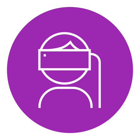 Man wearing virtual reality headset thick line icon with pointed corners and edges for web, mobile and infographics. Vector isolated icon. Illustration