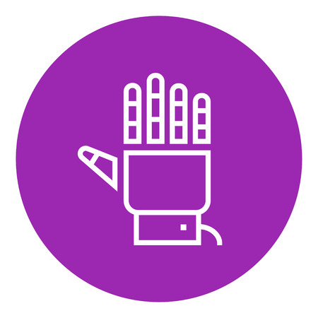 Robot hand thick line icon with pointed corners and edges for web, mobile and infographics. Vector isolated icon.