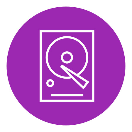 winchester: Hard disk thick line icon with pointed corners and edges for web, mobile and infographics. Vector isolated icon. Illustration