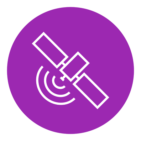 wireless signal: Satellite thick line icon with pointed corners and edges for web, mobile and infographics. Vector isolated icon.