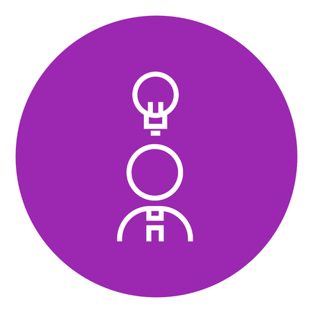 invent clever: Businessman with light bulb thick line icon with pointed corners and edges for web, mobile and infographics. Vector isolated icon.